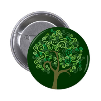 Green Abstract Tree 6 Cm Round Badge