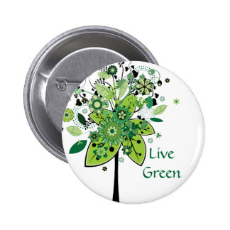 Green Abstract Tree Pinback Buttons
