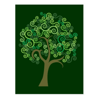 Green Abstract Tree Postcard