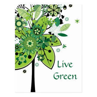 Green Abstract Tree Post Cards