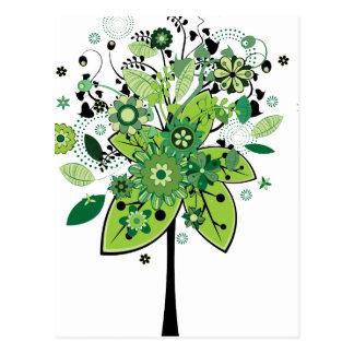 Green Abstract Tree Postcard