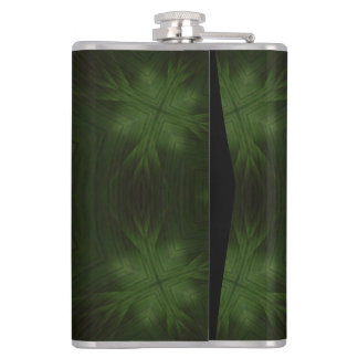 Green abstract wood hip flask