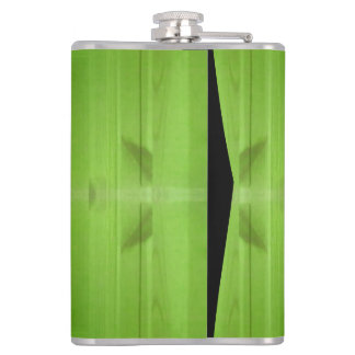 Green abstract wood pattern hip flask