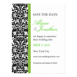 Green Accent Damask Save the Date Card Postcard
