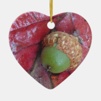 Green Acorn on a Red Fall Leaf Christmas Tree Ornaments