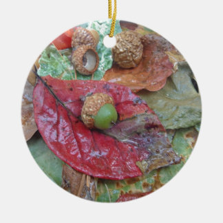 Green Acorn on a Red Fall Leaf Round Ceramic Decoration