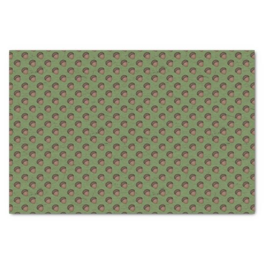 Green Acorn Patterned Tissue Paper