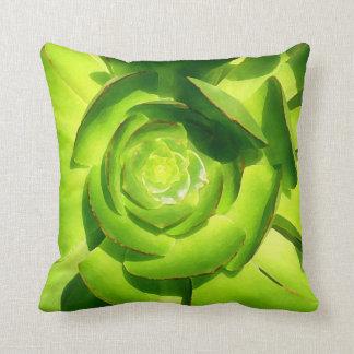 Green Aeonium Succulent Throw Cushions