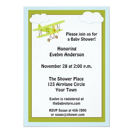 Green Aeroplane Baby Shower Invitation