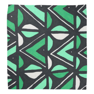 Green African Mudcloth Tribal Print Head Kerchiefs