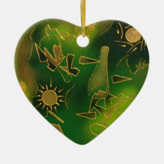 Green African Sunset Ceramic Heart Decoration