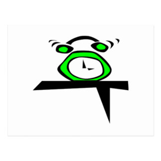Green Alarm Clock Post Card