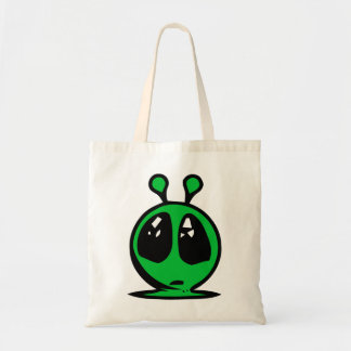 green alian big eyes. budget tote bag