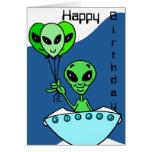Green Alien Birthday Card