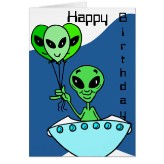 Green Alien Birthday Card
