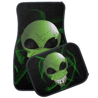 Green alien car floor mats