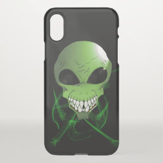 Green alien Custom iPhone-X Clearly Deflector Case