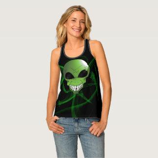 Green alien Custom Women's Racerback Tank Top
