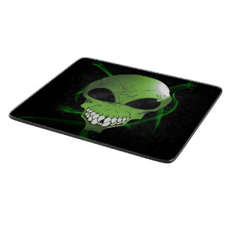 Green alien Decorative Glass Cutting Board