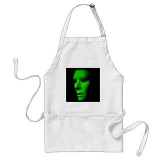 Green Alien Face on Black.jpg Standard Apron
