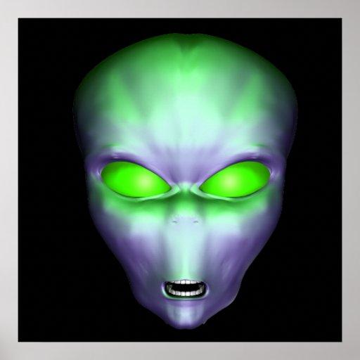 Green Alien Face Poster