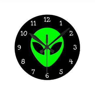 Green Alien Head Round Wallclocks