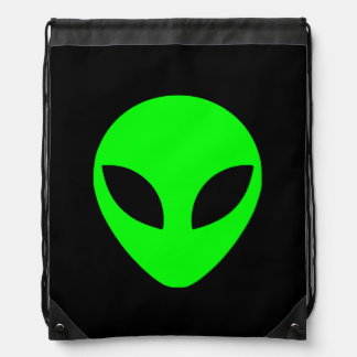 Green Alien Head Drawstring Bag