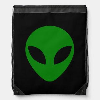 Green Alien Head Drawstring Bag