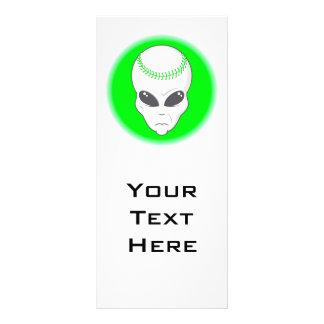 green alien head extreme baseball design 10 cm x 23 cm rack card