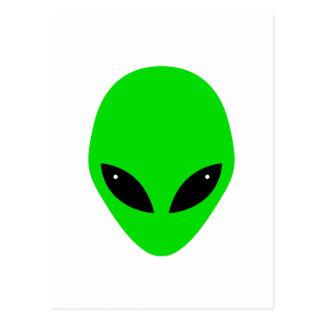 Green Alien Head Postcard