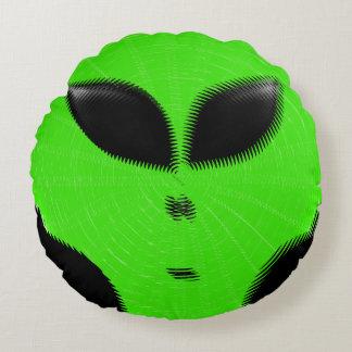 Green Alien Head Round Cushion