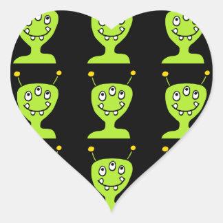Green Alien Heart Sticker
