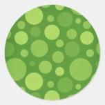 Green Alien Polka Bubble Dots Round Stickers