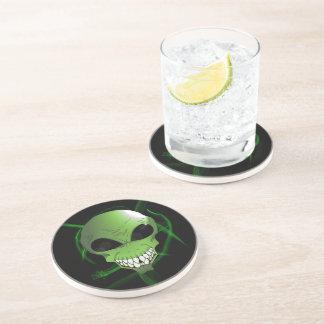 Green alien Sandstone Drink Coaster