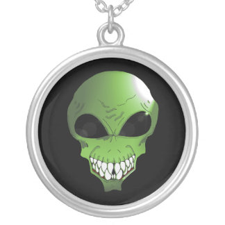 Green alien Silver Plated Round Necklace