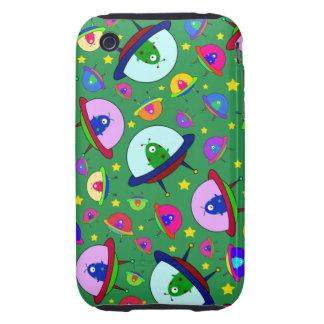 Green alien spaceship pattern iPhone 3 tough case