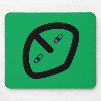 Green Alien style head Mouse Pad