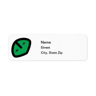 Green Alien style head Return Address Label