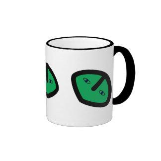 Green Alien style head Ringer Mug