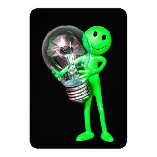 Green Alien Toy Holding a Light Bulb Card 9 Cm X 13 Cm Invitation Card