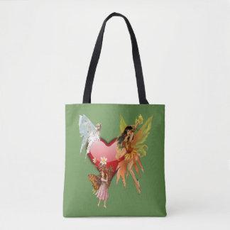 Green All-Over-Print Tote Bag, Medium fairies