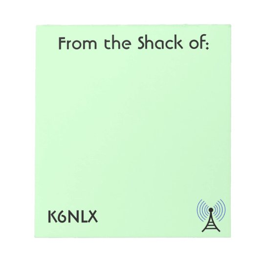 Green Amateur Radio Call Sign Notepad