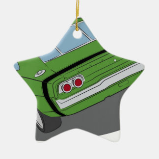 Green american muscle car christmas ornament
