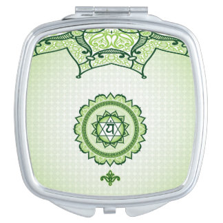 Green Anahata, 4th Chakra Compact Mirror