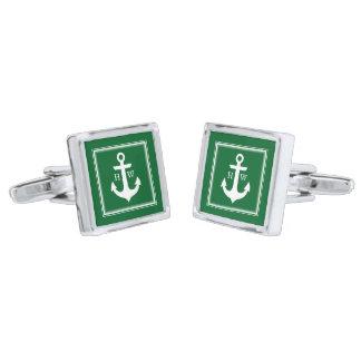 Green Anchor and Framed Monogram Silver Finish Cufflinks