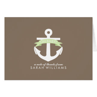 Green Anchor Nautical Baby Shower Note Card
