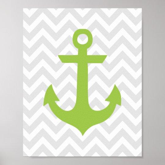 Green Anchor Nautical Nursery Poster