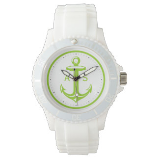 Green Anchor with Initials | Nautical Gifts Wristwatch