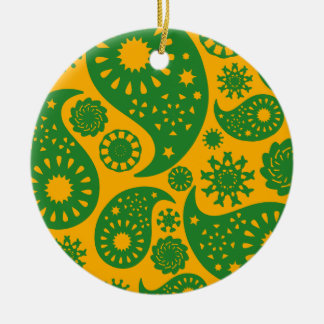 Green and Amber Yellow Paisley Pattern Christmas Tree Ornaments