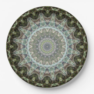 Green and Aqua Mandala Art Kaleidoscope Paper Plate